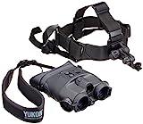 Yukon spritzwassergeschütztes binokulares Nachtsichtgerät Tracker 1x24 mit 1x Vergrößerung, Infrarotstrahler und Strativanschlussgewinde inklusive Kopfhalterung für freihändiges Beobachten